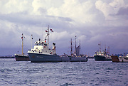 Oil industry support vessels ships at moorings,  thought to be River Dee, Aberdeen, Scotland in 1974