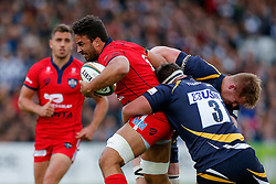 Bristol Rugby Flanker Marco Mama is tackled by Worcester Prop Prop Nick Schonert - Photo mandatory by-line: Rogan Thomson/JMP - 07966 386802 - 27/05/2015 - SPORT - Rugby Union - Worcester, England - Sixways Stadium - Worcester Warriors v Bristol Rugby - Greene King IPA Championship Play-Off Final 2nd Leg.