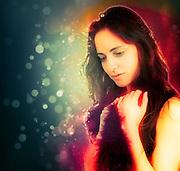 Digitally manipulated longing Emotional woman