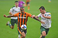 Hull City's Josh Magennis battles with Plymouth Argyle's Niall Canavan<br /> <br /> Photographer Dave Howarth/CameraSport<br /> <br /> The EFL Sky Bet League One - Hull City v Plymouth Argyle - Saturday 3rd October 2020 - KCOM Stadium - Kingston upon Hull<br /> <br /> World Copyright © 2020 CameraSport. All rights reserved. 43 Linden Ave. Countesthorpe. Leicester. England. LE8 5PG - Tel: +44 (0) 116 277 4147 - admin@camerasport.com - www.camerasport.com