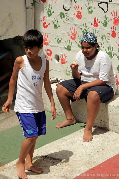 South America, Brazil. Rio de Janiero. Boys of Para Ti school in Favela of Vila Canoas.