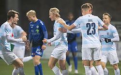 Målscorer Carl Lange (FC Helsingør) jubler med Nikolaj Hansen efter udligningen til 1-1 under kampen i 1. Division mellem HB Køge og FC Helsingør den 4. december 2020 på Capelli Sport Stadion i Køge (Foto: Claus Birch).