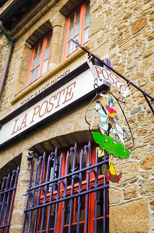 The post office at Mont Saint-Michel, Normandy, France