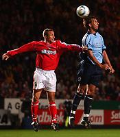 Fotball<br /> England<br /> Foto: SBI/Digitalsport<br /> NORWAY ONLY<br /> <br /> The Barclays Premiership.<br /> <br /> Charlton Athletic v Southampton<br /> 13/9/2004.<br /> <br /> Charlton Athletic's Chris Perry and Southampton's Claus Lundekvam