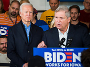 23 NOVEMBER 2019 - DES MOINES, IOWA: Former Iowa Governor TOM VILSACK talks about why he is endorsing former Vice President JOE BIDEN (far left) for president. Vice President Biden announced that Vilsack, the former Democratic governor of Iowa, endorsed him. Biden and Vilsack appeared with their wives at an event in Des Moines. Iowa hosts the first presidential selection event of the 2020 election cycle. The Iowa caucuses are on February 3, 2020.         PHOTO BY JACK KURTZ