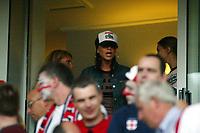 Photograph: Scott Heavey.<br />England  v Croatia, international. From Portman Road. 20/08.2003.<br />Victoria Beckham cheers on her man.