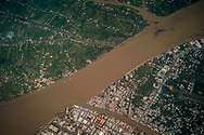 Aerial view above Vinh Long city and the Mekong River, Vietnam, Southeast Asia