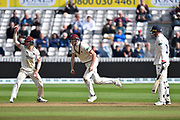 Wicket - Dan Lawrence of Essex is caught by Craig Overton of Somerset who celebrates taking the catch off the bowling of Jack Leach of Somerset during the Specsavers County Champ Div 1 match between Somerset County Cricket Club and Essex County Cricket Club at the Cooper Associates County Ground, Taunton, United Kingdom on 26 September 2019.