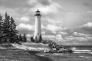 The Crisp Point Lighthouse as it overlooks Lake Superior on a lazy autumn afternoon, Michigan, Upper Peninsula, USA: A one hour drive from Tahquamenon Falls, mostly dirt roads