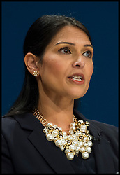 October 2, 2016 - Birmingham, West Midlands, United Kingdom - Image ©Licensed to i-Images Picture Agency. 02/10/2016. London, United Kingdom. ..Conservative Party Conference Day 1. ..Priti Patel walks on stage to speak at The ICC in Birmingham on the first day of the Conservative Party Conference...Picture by Ben Stevens / i-Images (Credit Image: © Ben Stevens/i-Images via ZUMA Wire)