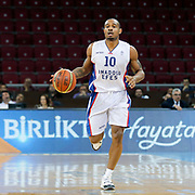 Anadolu Efes's Dontaye Draper during their Turkish Basketball League Play Off Semi Final round 1 match Anadolu Efes between Trabzonspor at Abdi Ipekci Arena in Istanbul Turkey on Friday 29 May 2015. Photo by Aykut AKICI/TURKPIX