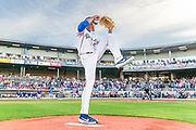 Amarillo Sod Poodles pitcher Reggie Lawson (9) warms up before the game against the Midland Rockhounds during Opening Night on Monday, April 8, 2019, at HODGETOWN in Amarillo, Texas. [Photo by John Moore/Amarillo Sod Poodles]