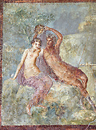 Roman Nero Period fresco wall painting of Perseus and Andromeda, from a house in the Insula Occidentalis at Pompeii , inv 9058 , Naples National Archaeological Museum .<br /> <br /> If you prefer to buy from our ALAMY PHOTO LIBRARY  Collection visit : https://www.alamy.com/portfolio/paul-williams-funkystock - Scroll down and type - Roman Fresco Naples  - into LOWER search box. {TIP - Refine search by adding a background colour as well}.<br /> <br /> Visit our ROMAN ART & HISTORIC SITES PHOTO COLLECTIONS for more photos to download or buy as wall art prints https://funkystock.photoshelter.com/gallery-collection/The-Romans-Art-Artefacts-Antiquities-Historic-Sites-Pictures-Images/C0000r2uLJJo9_s0