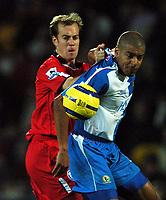 Fotball<br /> England 2004/2005<br /> Foto: BPI/Digitalsport<br /> NORWAY ONLY<br /> <br /> 21/11/2004 <br /> Blackburn Rovers v Birmingham City<br /> FA Barclays Premiership, Ewood Park<br /> <br /> Jamie Clapham grabs hold of Rovers scorer Stephen Reid