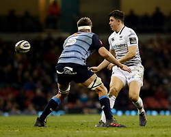 Ospreys' Owen Watkin gets the ball away<br /> <br /> Photographer Simon King/Replay Images<br /> <br /> Guinness PRO14 Round 21 - Cardiff Blues v Ospreys - Saturday 28th April 2018 - Principality Stadium - Cardiff<br /> <br /> World Copyright © Replay Images . All rights reserved. info@replayimages.co.uk - http://replayimages.co.uk