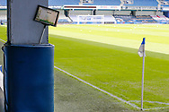 """General stadium view, """"Keep off the grass sign"""" sign, inside the Kiyan Prince Stadium before the EFL Sky Bet Championship match between Queens Park Rangers and Barnsley at the Kiyan Prince Foundation Stadium, London, England on 20 June 2020."""