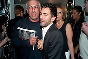 RIFAT OSBEC; MARK JACOBS, Mark Jacobs' Bang' fragrance preview. Harvey Nicholls. London. 22 July 2010. -DO NOT ARCHIVE-© Copyright Photograph by Dafydd Jones. 248 Clapham Rd. London SW9 0PZ. Tel 0207 820 0771. www.dafjones.com.