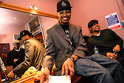 Iron Braydz, 26, (centre) is relaxing before performing on Thursday, Feb. 15, 2007, in London, England. Islamic Hip Hop artists like the duo 'Blind Alphabetz', from London, feel more than ever the need to say what they think aloud. In the music industry the backlash of a disputable Western foreign policy towards Islamic countries and its people is strong. The number of artists in the European Union and the US taking this into consideration and addressing the current social and political problems within their lyrics is growing rapidly and fostering awareness for Muslim and others alike.