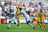 Swansea city's Wayne Routledge (15) scores his sides 3rd goal. UEFA Europa league, play off round, 1st leg match, Swansea city v FC Petrolul Ploiesti at the Liberty stadium in Swansea on Thursday 22nd August 2013. pic by Andrew Orchard , Andrew Orchard sports photography,