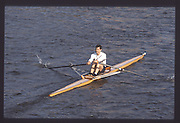 London. United Kingdom. Nick STRANGE. 1990 Scullers Head of the River Race. River Thames, viewpoint Chiswick Bridge Saturday 07.04.1990<br /> <br /> [Mandatory Credit; Peter SPURRIER/Intersport Images] 19900407 Scullers Head, London Engl