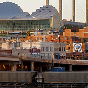 Kauffman Center For the Performing Arts in downtown Kansas City, MIssouri, with freight train in foreground.