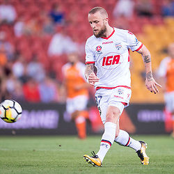 BRISBANE, AUSTRALIA - OCTOBER 13: Daniel Adlung of Adelaide in action during the Round 2 Hyundai A-League match between Brisbane Roar and Adelaide United on October 13, 2017 in Brisbane, Australia. (Photo by Patrick Kearney)