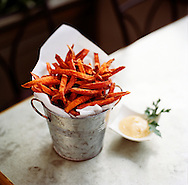 Bucket of Yam Fries with cayenne aioli at Flora Restaurant in Seattle, WA