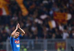 October 14, 2017 - Rome, Italy - Jorginho of Napoli greeting the supporters during the Italian Serie A football match AS Roma vs Napoli at the Olympic Stadium in Rome, on October 14, 2017. (Credit Image: © Matteo Ciambelli/NurPhoto via ZUMA Press)