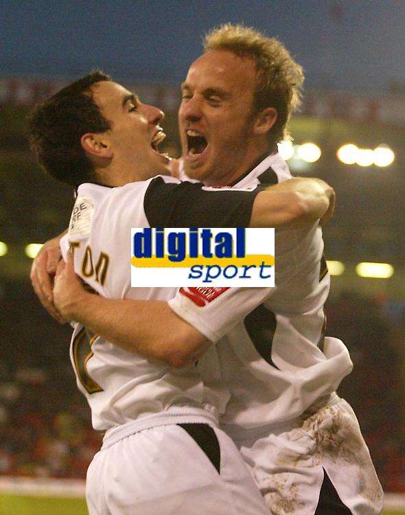Photo: Aidan Ellis.<br /> Sheffield United v Swansea City. The FA Cup. 06/01/2007.<br /> Swansea's 1st goal scorerThomas Butler celebrates scoring with Rory Fallon