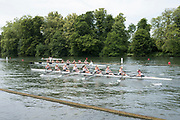 """Henley on Thames, United Kingdom, 23rd June 2018, Saturday,   """"Henley Women's Regatta"""",  view, A heat of the Women's eights passes Temple Island on day two of  the Regatta,Henley Reach, River Thames, England, © Peter SPURRIER/Alamy Live News"""