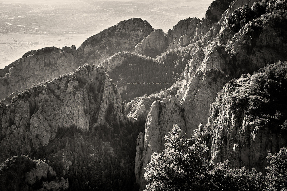 Acres and acres of traditional rock climbing on the huge serrated ridges of the Sandia Mountains, New Mexico.