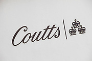 Sign for Coutts private banking service, London.