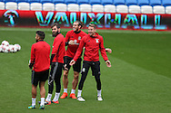 Gareth Bale of Wales © jokes with Chris Gunter (r) during Wales football team training at the Cardiff city Stadium in Cardiff , South Wales on Saturday 8th October 2016, the team are preparing for their FIFA World Cup qualifier home to Georgia tomorrow. pic by Andrew Orchard, Andrew Orchard sports photography