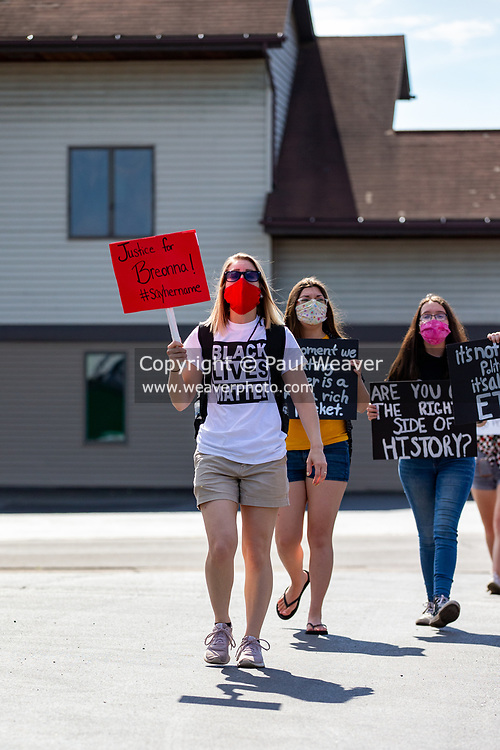 Montoursville, PA (June 26, 2020) -- About 50 people participated in a peaceful protest and march against racism. Several people spoke about their experiences with racism before the group marched half a mile down Broad Street and back while chanting and carrying signs.