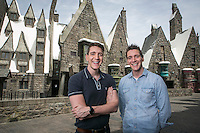 Oliver and James Phelps at the Wizarding World of Harry Potter at Universal Studios Hollywood. Photo by David Sprague