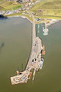 Nederland, Friesland, Ameland, 28-02-2016; Ameland  met veerdam en jachthaven.<br /> Wadden island Ameland, Wadden sea. <br /> luchtfoto (toeslag op standard tarieven);<br /> aerial photo (additional fee required);<br /> copyright foto/photo Siebe Swart