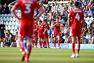 Accrington Stanley players celebrates the opening goal during the EFL Sky Bet League 1 match between Peterborough United and Accrington Stanley at London Road, Peterborough, England on 20 October 2018.