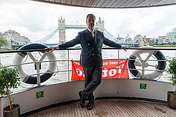 © Licensed to London News Pictures. 15/06/2016. UKIP party leader NIGEL FARAGE leads a pro-Brexit flotilla of boats down the River Thames urging voting in the British EU Referendum.  London, UK. Photo credit: Ray Tang/LNP
