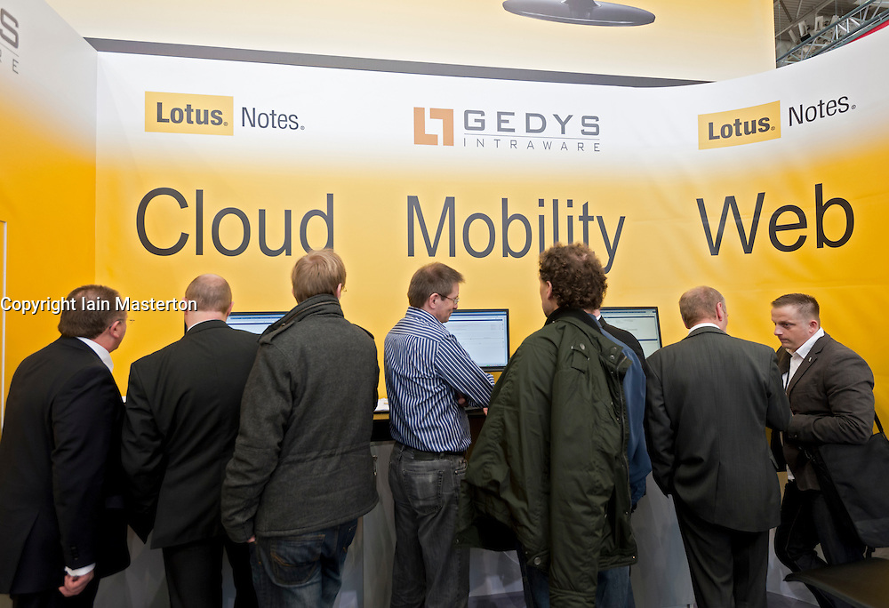 Lotus trade booth at CeBIT 2011 digital and electronics trade fair in Hannover March 2011 Germany