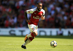 """Arsenal's Alexandre Lacazette during the Community Shield at Wembley, London. PRESS ASSOCIATION Photo. Picture date: Sunday August 6, 2017. See PA story SOCCER Community Shield. Photo credit should read: Nigel French/PA Wire. RESTRICTIONS: EDITORIAL USE ONLY No use with unauthorised audio, video, data, fixture lists, club/league logos or """"live"""" services. Online in-match use limited to 75 images, no video emulation. No use in betting, games or single club/league/player publications."""