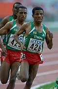 Haile Gebreselassie of Ethiopia leads countrymen Kenenisa Bekele (423) and Sihine Sileshi. in the IAAF World Championships in Athletics at Stade de France on Sunday, Aug, 24, 2003.