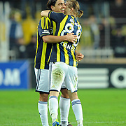 Fenerbahce's Mehmet Topuz (L) celebrate his goal with team mate during their Turkish superleague soccer match Fenerbahce between Gaziantepspor at the Sukru Saracaoglu stadium in Istanbul Turkey on Monday09 January 2011. Photo by TURKPIX