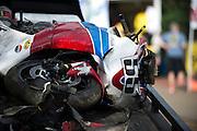June 30, 2013 - Pikes Peak, Colorado.  The wreckage of Alex Moreno's bike after the Pikes Peak Hill Climb.