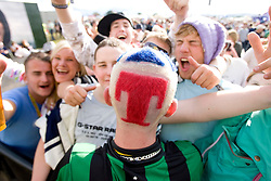 Fans at Newton Faulkner on the main stage at T in the Park Friday 11 July 2008..T in the Park 2008 festival took place on the Friday 10th July, Saturday 11th July and Sunday 12th July, at Balado, near Kinross in Perth and Kinross, Scotland..Pic ©Michael Schofield. All Rights Reserved..