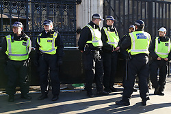 """© Licensed to London News Pictures. 08/01/2019. London, UK. Extra Police Officers outside Houses of Parliament after the Conservative MP Anna Soubry was surrounded by protesters on Monday calling her a """"Nazi"""". Photo credit: Dinendra Haria/LNP"""
