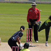 Naila Nazir bowling for Pakistan  during the match between New Zealand and Pakistan in the Super 6 stage of the ICC Women's World Cup Cricket tournament at Drummoyne Oval, Sydney, Australia on March 19, 2009. New Zealand won the match by 223 runs. Photo Tim Clayton