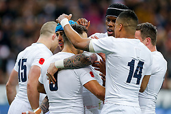 England Scrum-Half Danny Care celebrates with teammaes after he scores a try - Mandatory byline: Rogan Thomson/JMP - 19/03/2016 - RUGBY UNION - Stade de France - Paris, France - France v England - RBS 6 Nations 2016.