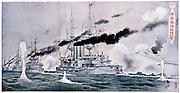 Russo-Japanese War 1904-1905. Japanese squadron bombarding Port Arthur. From a Japanese lithograph.
