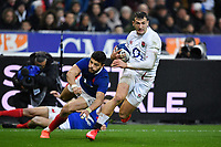 Rugby Union - 2020 Guinness Six Nations Championship - France vs. England<br /> <br /> England's Jonny May evades the tackle of Frances's Romain Ntamack to score his 2nd try, at The Stade de France, Paris.<br /> <br /> COLORSPORT/ASHLEY WESTERN