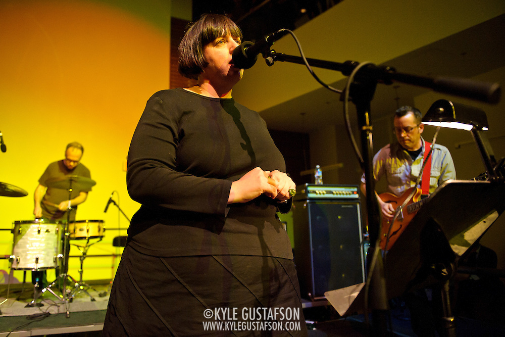 ARLINGTON, VA - April 7th, 2012 -  Archie Moore, Pam Berry and Brian Nelson of seminal Washington, D.C. indie-pop band Black Tambourine perform at Artisphere in Arlington, VA.  The band reunited to play their first gigs since 1991 for the 20th anniversary party for Chickfactor Magazine.  (Photo by Kyle Gustafson/For The Washington Post)